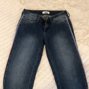 NEVER WORN: Red white and blue detailed jeans